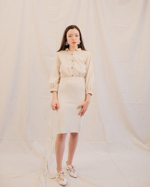 Vintage Cream Ribbed Wool Knit Skirt / S - Closed Caption
