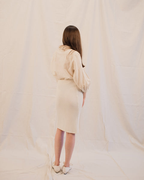 Vintage Creme Ribbed Wool Knit Skirt / S