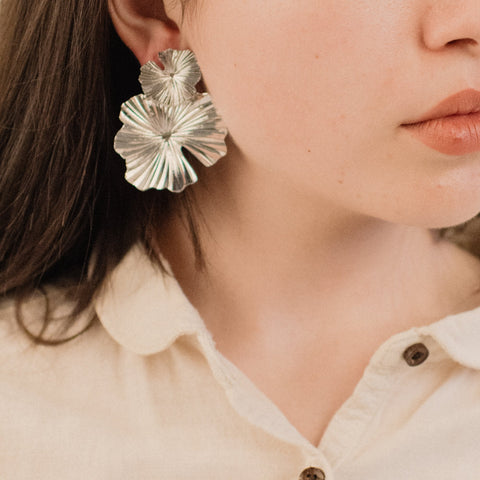 Silver Oversized Abstract Floral Earrings