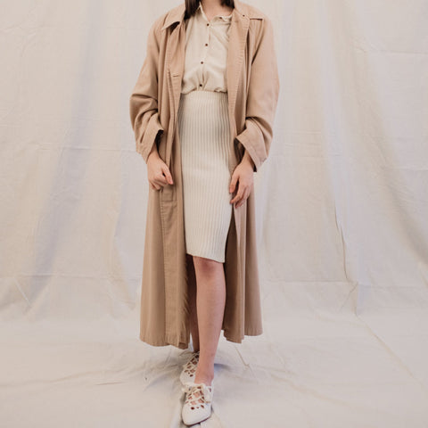 Vintage Oversized Beige Swing Coat / S/M