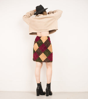 Vintage Diamond Earth Tones Leather Mini Skirt / S/M - Closed Caption