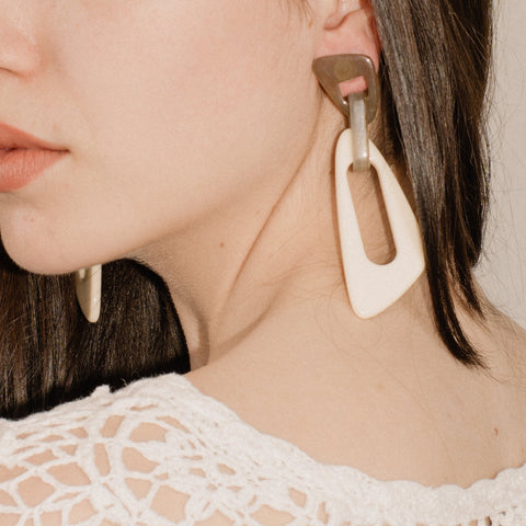 Smoke + Creme Geometric Resin Statement Earrings