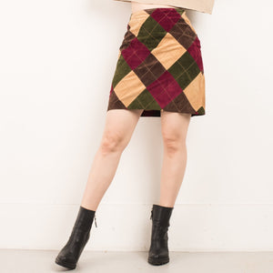 Vintage Diamond Earth Tones Leather Mini Skirt / S/M