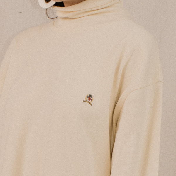 Vintage Creme Oversized Turtleneck Sweater / S-L
