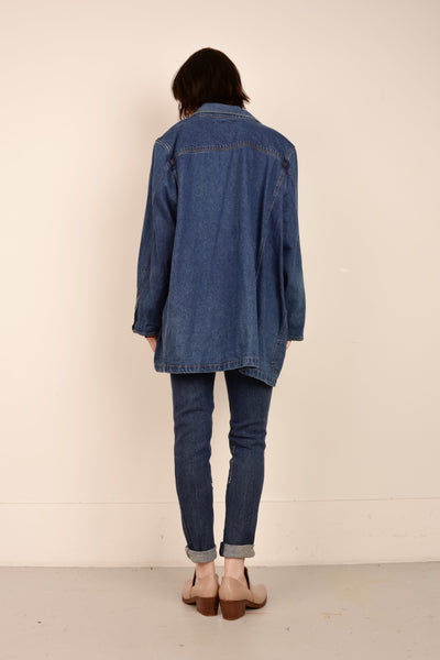 Vintage Oversized Medium Wash Denim Chore Blazer / S