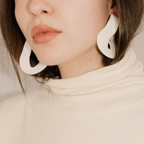 White Twisted Resin Hoop Statement Earrings