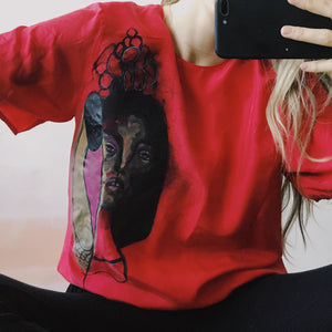 Hand Painted Female Portrait on Red Silk Blouse / S