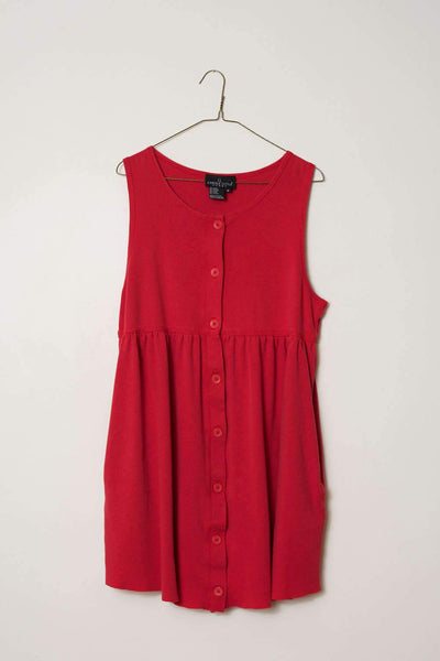 Vintage Sleeveless Raw Hem button up knit dress with pockets / S/M