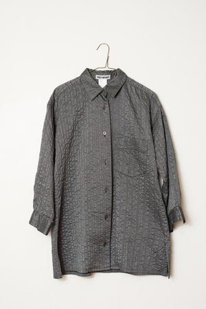Vintage ISSEY MIYAKE Texture Grey Button Down Blouse Unisex / S/M - Closed Caption