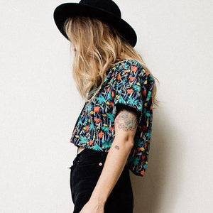 Vintage Raw Hem Cropped Hipster Shirt