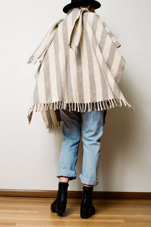 Vintage Striped Handmade Poncho - Closed Caption