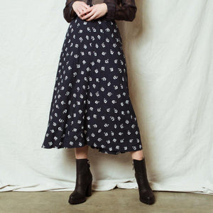 Vintage Navy White Pattern Skirt / M/L