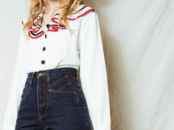 Vintage SITTING PRETTY Of California Sailor Blouse / S