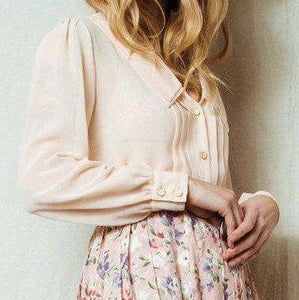 Vintage Light Pink Sheer Blouse / S