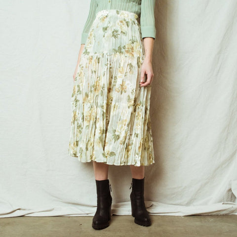 Vintage Sheer Green Tone Floral Peasant Skirt / M