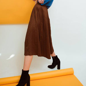 Vintage Chocolate Pleated High Waist Skirt / S