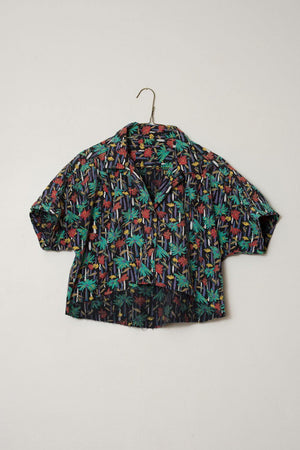 Vintage Raw Hem Cropped Hipster Shirt - Closed Caption