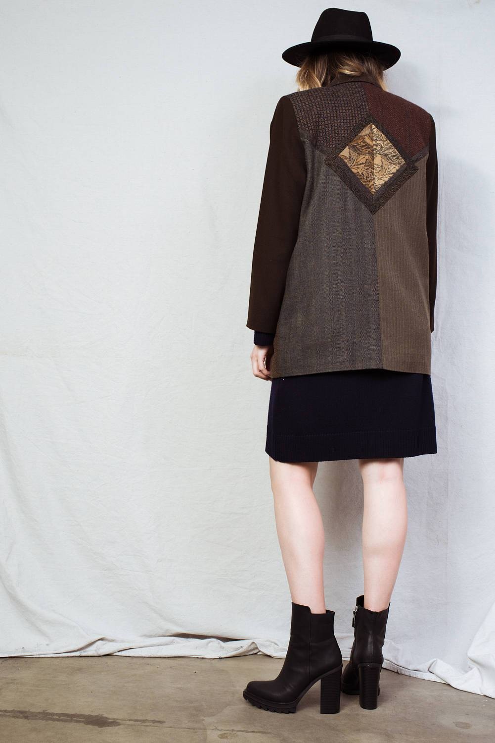 Vintage Earth Tone Patchwork Blazer / S - Closed Caption