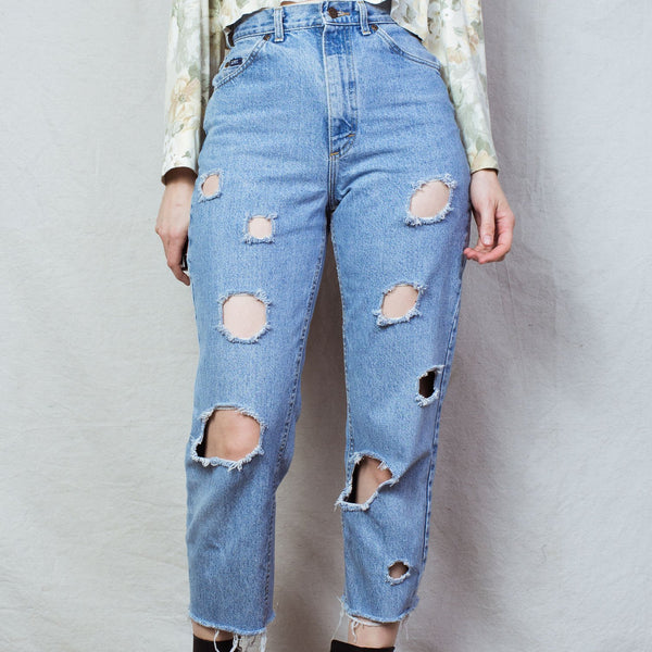 Vintage Light Wash Distressed LEE Denim Pants / 28""