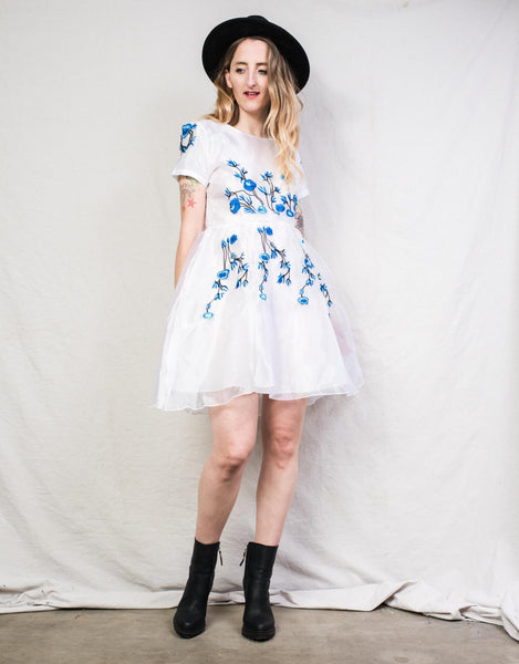 Vintage Organza Floral Embroidery Dress / S
