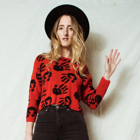 Vintage Red Black Cropped Hand Sweater / XS/S