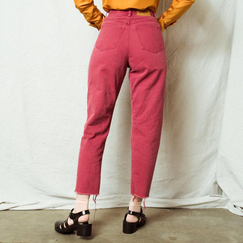 Vintage Red Raw Hem Denim Pants / M