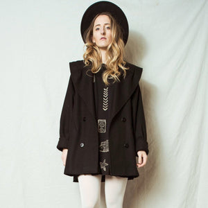 Vintage Black Wool Coat / XS/S