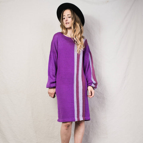 Vintage Purple Knit Mid Length Dress / S