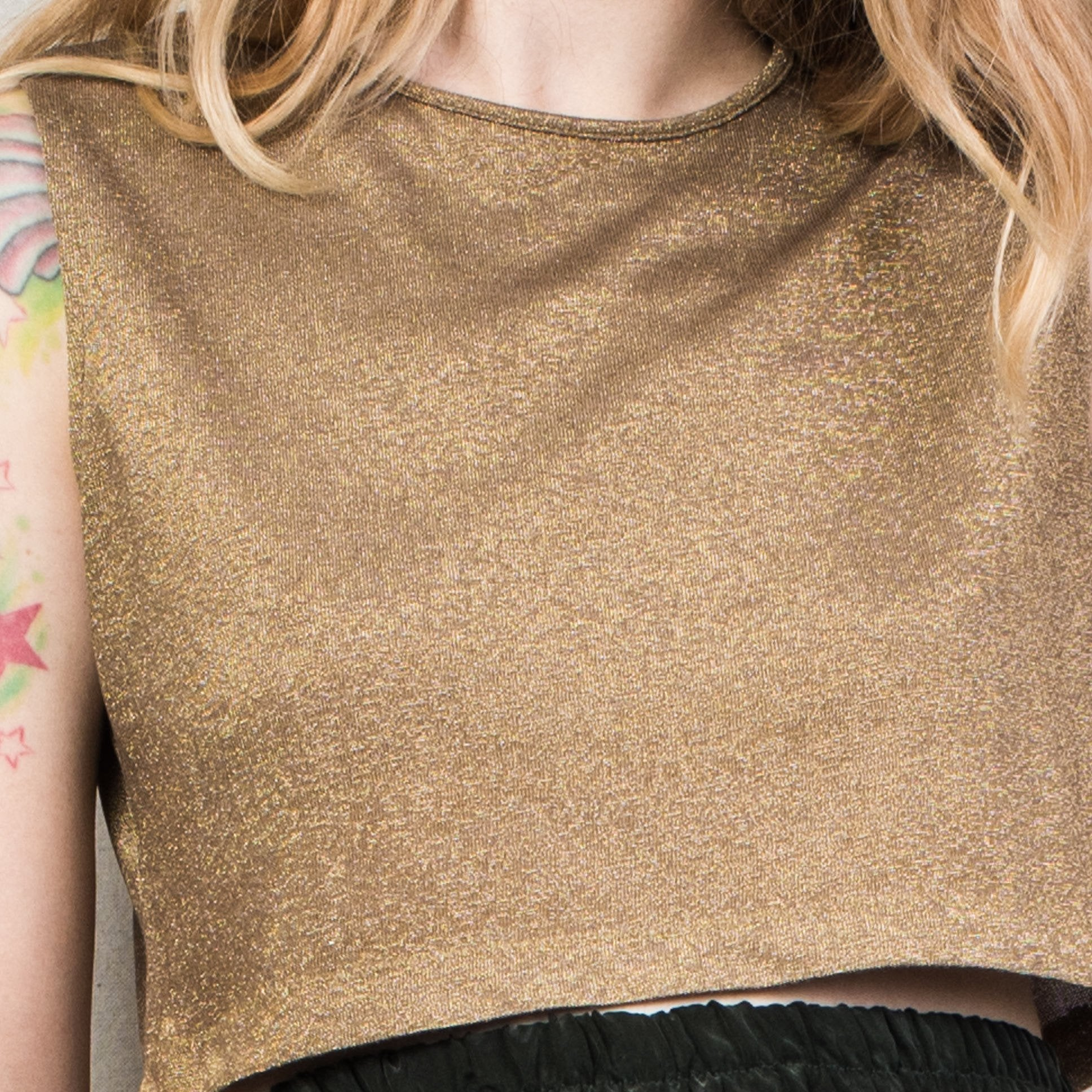 Vintage Cropped Gold Glitter RALPH LAUREN Knit Top / S - Closed Caption