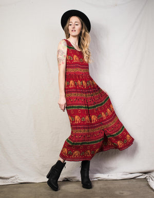 Vintage Crimson Elephant Boho Dress / S - Closed Caption