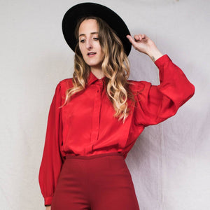 Vintage Red Long Sleeve Silk Blouse / S