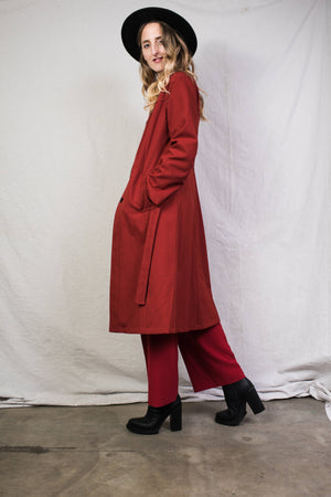 Vintage Crimson Trench Coat / S