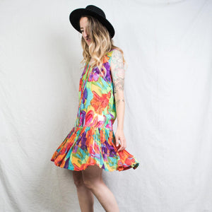 Vintage Sleeveless Abstract Floral Dress / S