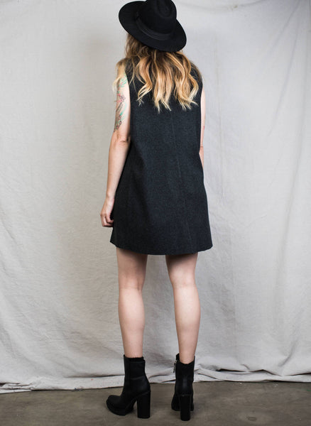 Vintage Sleeveless Charcoal Knit Dress / S