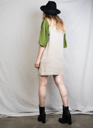 Vintage Cappuccino Linen Overall Dress / S - Closed Caption