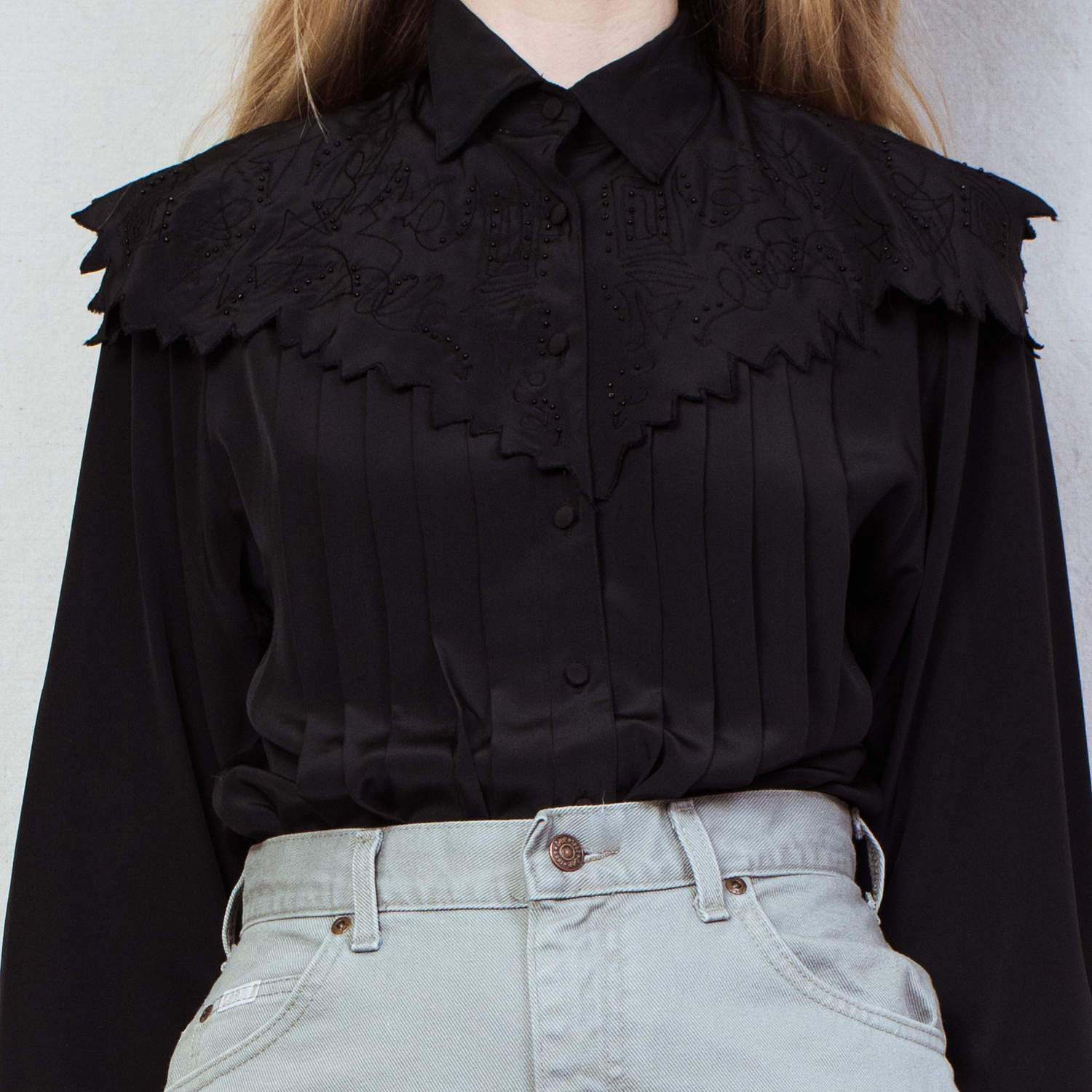 Vintage Black Pleated and Beaded Blouse / S/M - Closed Caption