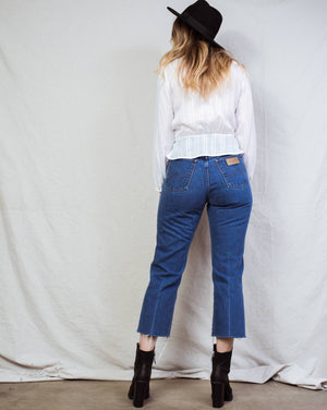 "Vintage WRANGLER Blue Raw Hem Denim Pants / 28"" - Closed Caption"
