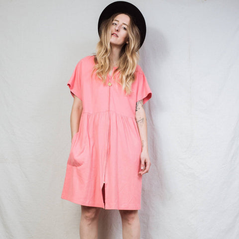 Vintage Coral Oversized T-Shirt Dress / S