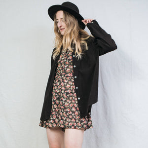 Vintage Black Oversized Summer Jacket / S - Closed Caption
