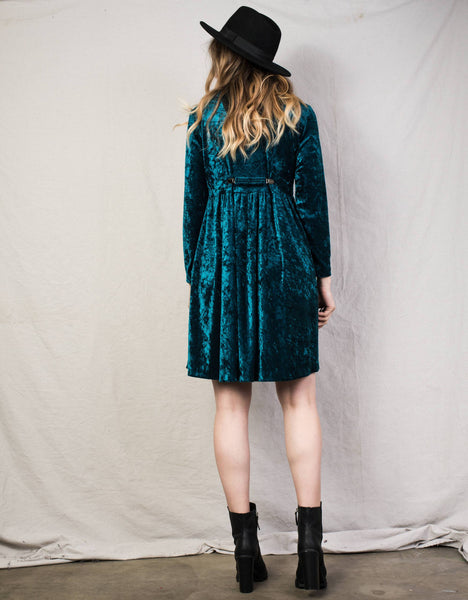 Vintage Long Sleeves Crushed Velvet Teal Dress / S