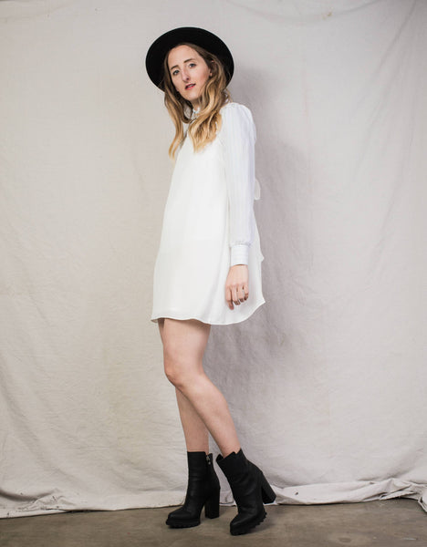 Vintage White Bow Slip Dress / XS/S