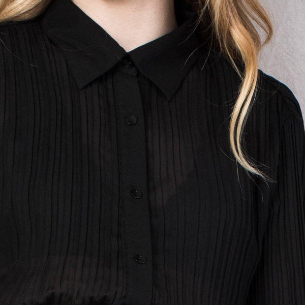 Vintage Black Accordion Pleated Sheer Blouse / S/M
