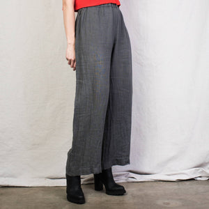 Vintage Grey Elastic Waist Linen Pants / S - Closed Caption