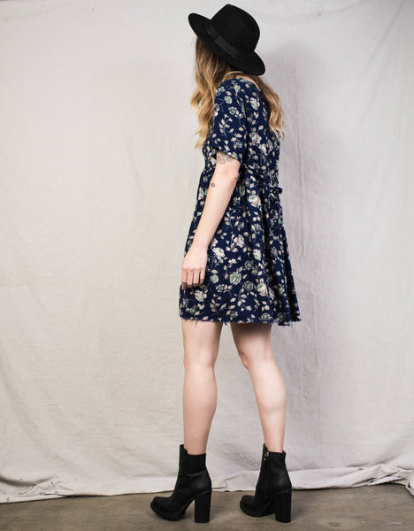 Vintage Short Sleeve Navy Floral Dress / S