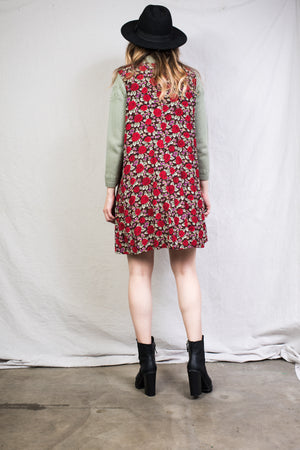 Vintage Sleeveless Rose Dress / S
