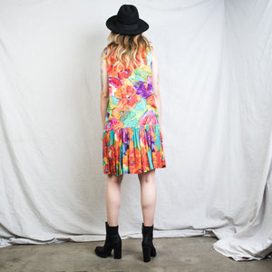 Vintage Sleeveless Abstract Floral Dress / S - Closed Caption