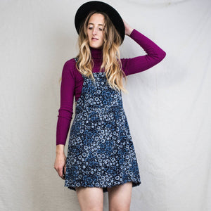 Vintage Stormy Sky Floral Overall Dress / S