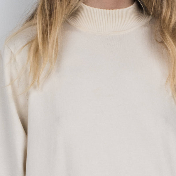 Vintage Eggshell Mock Turtleneck Oversized Shirt / S