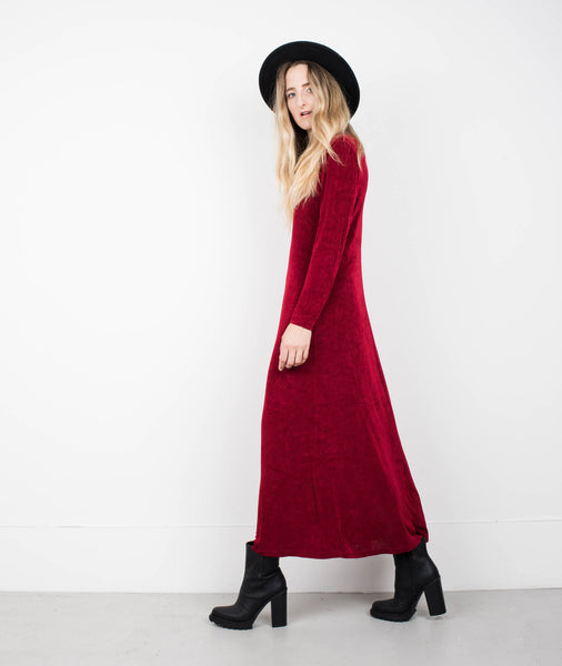 Vintage Dark Cherry Long Sleeve Slinky Maxi Dress / S