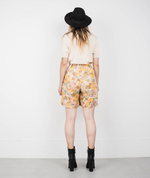 Vintage Faded Watercolor Floral Linen Shorts / S